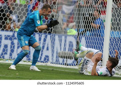 01.07.2018. MOSCOW, Russia: AKINFEEV, KUTEPOV in action during the Fifa World Cup Russia 2018, Eighths of final football match between SPAIN VS RUSSIA in Luzhniki Stadium in Moscow.