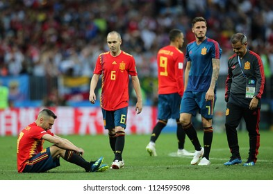 01.07.2018. MOSCOW, Russia: DESPERATE SPAIN  AT END OF  the Fifa World Cup Russia 2018, Eighths of final football match between SPAIN VS RUSSIA in Luzhniki Stadium in Moscow.