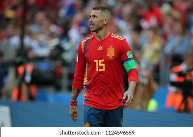 01.07.2018. MOSCOW, Russia:SERGIO RAMOS  in action during the Fifa World Cup Russia 2018, Eighths of final football match between SPAIN VS RUSSIA in Luzhniki Stadium in Moscow.