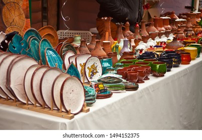 01.09.2019 Russia, Ufa. Pottery products on the table at the street market.