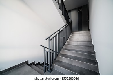 01.10.2019 Uzhhorod city Lintura. stairs in an apartment building with a new design. metal handrails for people. Loft style in the house