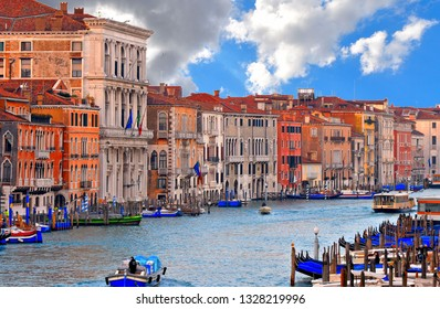 01.12.2018. glimpse of Venice with Canal Grande with gondola boats, historic colorful facade buildings, windows and and architecture  at sunny day, Italy