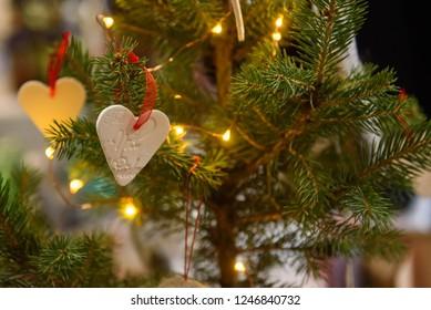 01.12.2018. RIGA, LATVIA.Heart symbol, hanged on Christmas tree, during Christmas Charity Bazaar, organised by The International Women's Club of Riga.