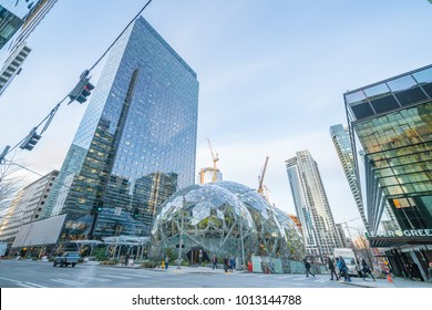 01/22/2018 : View of the Amazon Spheres at its Seattle headquarters and office towers in downtown Seattle WA D.C USA
