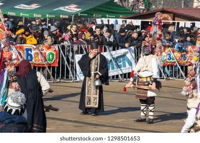 01.27.2019 - Bulgaria, Pernik - Festival of traditional balkan masks Surva 2019 - Kuker and pope