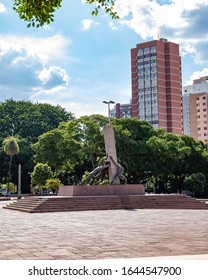 Goiânia/Goiás/Brasil - 02 01 2019: Monument to the Three Races at Plaza Dr. Pedro Ludovico Teixeira