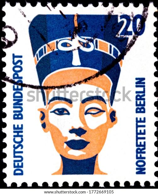 02 08 2020 Divnoe Stavropol Territory Russia postage stamp Germany 1989 Sightseeings Nefertiti bust, Berlin