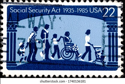 02 10 2020 Divnoe Stavropol Territory Russia Postage Stamp United States 1985 The 50th Anniversary of Social Security Act 1935-1985 Men, Women, Children, Disabled, Corinthian Columns Blue Tone