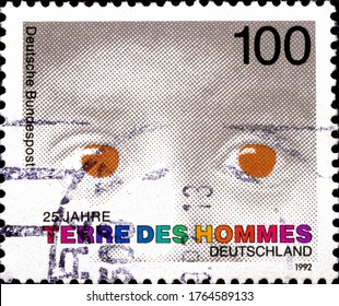 02 10 2020 Divnoe Stavropol Krai Russia postage stamp Germany 1992 The 125th Anniversary of the Foundation of Childrens Welfare Organization Terre des Hommes Child's Eyes