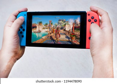 02 of August, Argentina. Assassin's creed odyssey on nintendo switch. Man Playing with Kassandra
