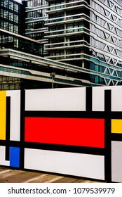 02, December, 2017 Den Haag, Netherlands, Building near the Central Station in The Hague and marking the hundredth anniversary of the birth of Mondrian