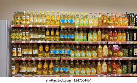 02 December 2018, Istanbul Turkey:  Various of cooking oils sold in supermarket in Istanbul, Turkey.