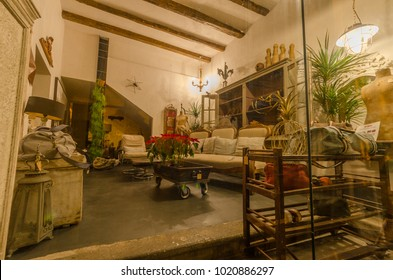 02 JANUARY 2018 ROME ITALY a view the interiors of a shop on Via di Panico street