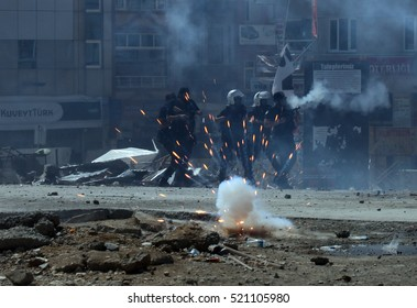 02 June 2016, Istanbul, Turkey. Turkish police clash with protestors during the Gezi Park demonstrations.