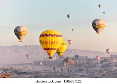 02 September 2019, Nevsehir - Turkey: In the Cappadocia region of Nevsehir, the first light of the morning with the balloons departing for tourists. One of the favorite activities of tourists in this