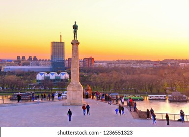 02.01.2018.Sunset light on Danube river, Viktor statue and column and people in fortress Kalemegdan in Belgrade Serbia