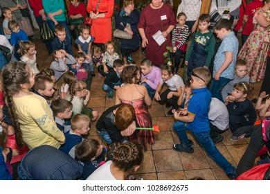 02.02.2018 Zatei 10 years entertainment program for children. Russia Altai region city Zarinsk. Many children at the festival
