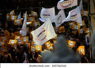 02.03.2018. Piazza del Popolo, Rome, Italy. ITALY-POLITIC-ELECTION-VOTEClosure of the election campaign of the 5-star movement  in Piazza del Popolo square in Rome on March 2, 2018.