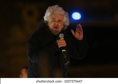 02.03.2018. Piazza del Popolo, Rome, Italy.  Beppe Grillo (founder of movement) at Closure of the election campaign of the 5-star movement  in Piazza del Popolo square in Rome on March 2, 2018.