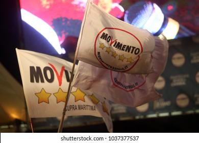 02.03.2018. Piazza del Popolo, Rome, Italy. Luigi Di Maio premier candidate for 5 stars at closure of the election campaign of the 5-star movement  in Piazza del Popolo square in Rome on March 2, 2018