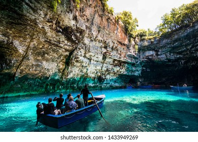 02.05.2019, Kefalonia island, Greece - Famous Melissani lake, boat trip. Summer vacation.