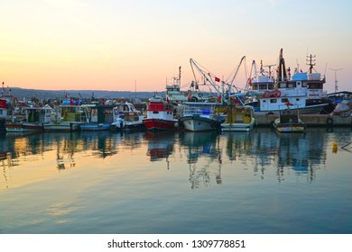 02/10/2019-Poyrazkoy, Beykoz,Istanbul, Turkey.    Fishing port of the village at sunset.