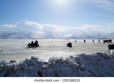 02/12/2018- Ardahan, Turkey. Horse sleigh   on the icy lake Cildir.