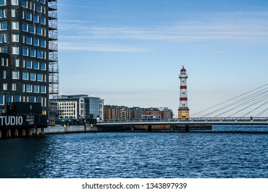 Malmö/Sweden; 02/15/2016. Bridge and Lighthouse of Malmö. Located on a notorious rocky shoal just off the entrance to Malmö harbor.
