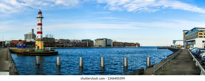 Malmö/Sweden; 02/15/2016. Lighthouse of Malmö. Located on a notorious rocky shoal just off the entrance to Malmö harbor.