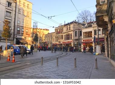 02/18/2019- Beyoglu, Istanbul, Turkey. Street view of city center Taksim.