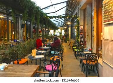 02/18/2019-Beyoglu, Istanbul, Turkey. Istiklal street covered cafes called Tunel Cikmazi in Turkish.