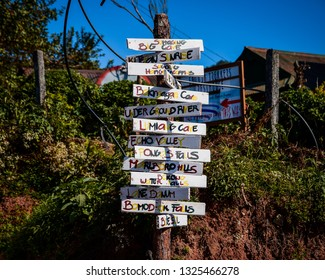 02/20/19 - Sagada, Mt Province, PH Signboard showing all famous spots in Sagada, PH. It is not entirely accurate but it is showing their orientation.