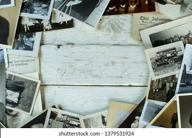 02.21.2019. Genealogy and Family History - Old Photographs and Documents from around 1880-1940 with white wood center