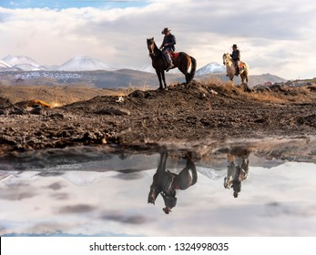 02,23,2019,Kayseri/Turkey,Wild horse drivers at Kayseri