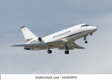 03 June 2017 Dassault Falcon 2000EX F2TH landing at Turin Caselle Airport, Italy. It's a bizjet airplane owned by NetJets Transportes Aereos delivered in 2004 to transport business man. CS-DFG