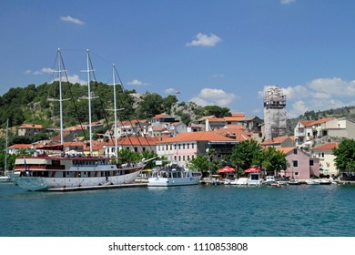 03 June 2018 - Skradin, Croatia: Beautiful scenery at the marina of the town of Skradin, from which ferry boats bring visitors to Krka national park.