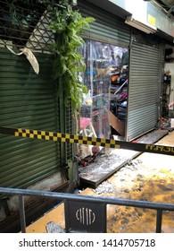 03 June 2019; Bangkok Thailand: Interior of JJ market, Fire carcass Dangerous zone at Chatuchak Weekend Market