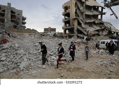 03 march 2016, sirnak, Turkey. Bombed buildings seen after the curfew. The armed conflict between Turkish security forces and PKK (Kurdistan Worker's Party) members killed hundreds of people