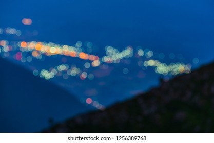 03 November 2018 : Bokeh from the Lights of the Chiang Dao city, the view from the top of  DOI Luang Chiang Dao, Chiang Mai, Thailand.