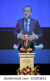 03 October 2014, Istanbul, Turkey. Turkish President Recep Tayyip Erdogan speaking to crowd in different events such as press conferences, political rallies between the years 2008-2016 in Istanbul.