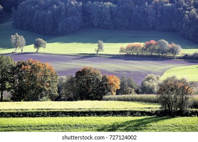 03 October, 2017 Coburg, Germany. Beautiful sunshine on Franconian hills in Germany as autumn turns leaves red.
