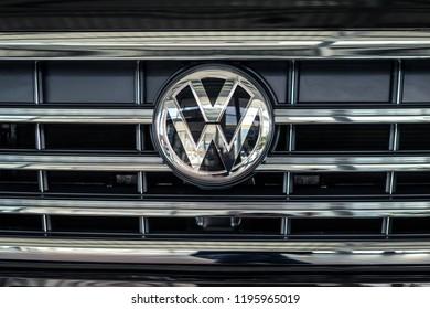 03 of October, 2018 - Vinnitsa, Ukraine. New Volkswagen Touareg  presentation in showroom - logo