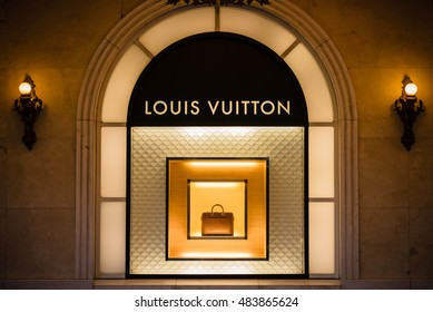 03 Sep 2016 in Hanoi Vietnam, Louis Vuitton sign for advertising at night outside Trang Tien Plaza in Hanoi, Vietnam