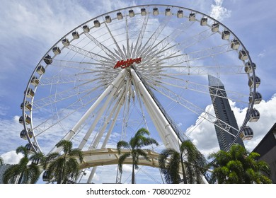 03 September 2017 : Bangkok, Thailand: Ferris wheel at Asiatique the Riverfront