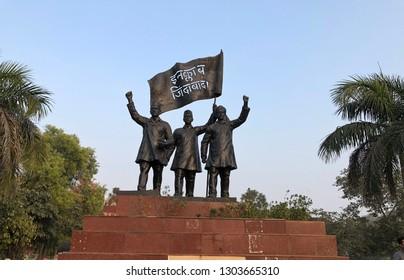 03-02-2019,Statues of three National heroes Shaheed Bhagat Singh , Rajguru and Sukhdev at Shaheed Park in New Delhi,India