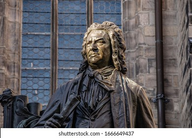 03-02-2020 Leipzig Germany  Monument of the famous composer Johann Sebastian Bach in front of the Thomaskirche
