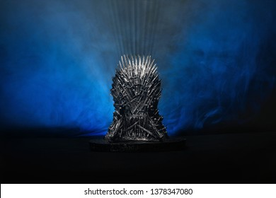 03.03.2019 - The model of throne as in Game of throne at a bright blue smoked background