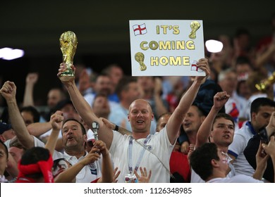 03.07.2018. MOSCOW, Russia: ENGLAND FANS CELEBRATES ON THE STANDS IN the Round-16 Fifa World Cup Russia 2018 football match between COLOMBIA VS ENGLAND in Spartak Stadium.