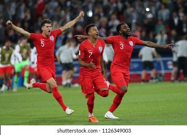 03.07.2018. MOSCOW, Russia: England team celebrates victory at end of  the Round-16 Fifa World Cup Russia 2018 football match between COLOMBIA VS ENGLAND in Spartak Stadium.