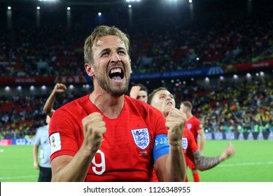 03.07.2018. MOSCOW, Russia: HARRY KANE CELEBRATES VICTORY the Round-16 Fifa World Cup Russia 2018 football match between COLOMBIA VS ENGLAND in Spartak Stadium.